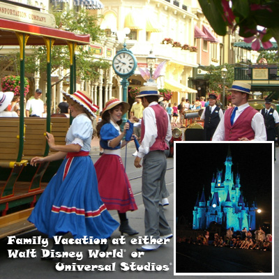 FAMILY VACATION - Enjoy a family vacation in Florida for 2 adults and 2 children.  Choose from either Walt Disney World<sup>®</sup> or Universal Studios<sup>®</sup> Orlando.  Includes 4 nights at a park resort and 4 days of park admission. Airfare not included.