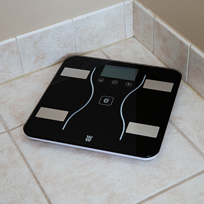 CONAIR<sup>®</sup> Weight Watchers<sup>®</sup> Scale - This body analysis scale offers weight and body monitoring including body fat, body water, bone mass, muscle mass and BMI.  Also connects via Bluetooth<sup>®</sup> to the Weight Watchers<sup>®</sup> Scales by Conair<sup>®</sup> app.  And you can sync your data with Weight Watchers<sup>®</sup>, Apple<sup>®</sup> Health, Google Fit<sup>®</sup> and similar apps. Works with iOS and Android, however a smart device is not needed to use this scale. Requires 3 AAA batteries (batteries included).